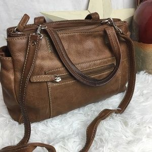 Fossil Brown Leather Satchel Purse